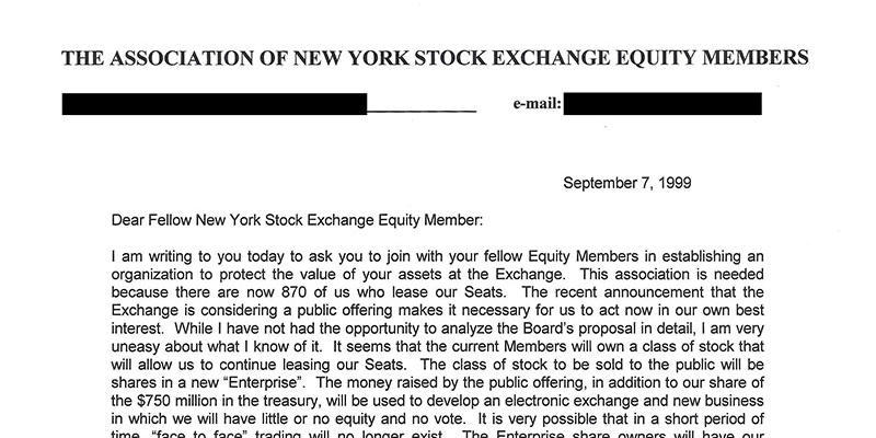 Letter to The Association of New York Stock Exchange Equity Members